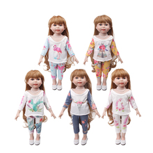 Doll clothes 5 color long sleeve suit +pant toy accessories fit 18 inch Girl doll and 43 cm baby dolls c721-c725