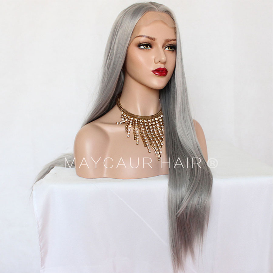 _0008_Maycaur 180 Density Gray Color Natural Straight Synthetic Lace Front Wigs for Women Glueless Natural Baby Hair (5)