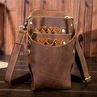Genuine Leather Barber Hair Scissor Bag Hairdressing Holster Pouch Holder Case Rivet Clips Bag With Waist
