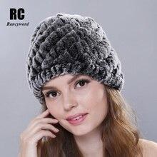[Rancyword] Hot Sale Winter Fur Hats For Women Natural Rex Rabbit Beanie knitted Caps Female Elegant Real Cap RC1307