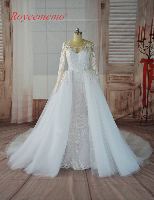 2017 Hot Sale Special Lace Detachable Train Long Sleeve Wedding Dress Custom Made Bridal Gown