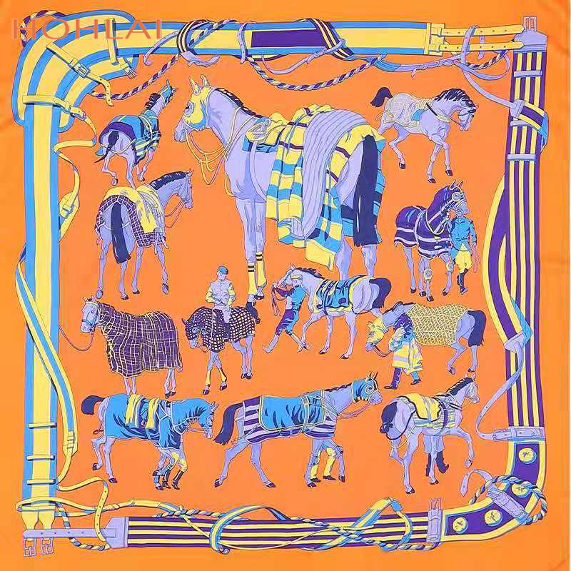 2020 NEW Women Ethnic Square Silk Scarf Luxury Brand Desigual Foulard Femme Shawls Vintage Twill Horse Print Scarves Wholesale