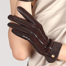 Autumn/Winter Ladies New Leather Gloves Imported Sheepskin Horse Hair Full Touch Screen Wool Knitted Lining EL046NZ2-5