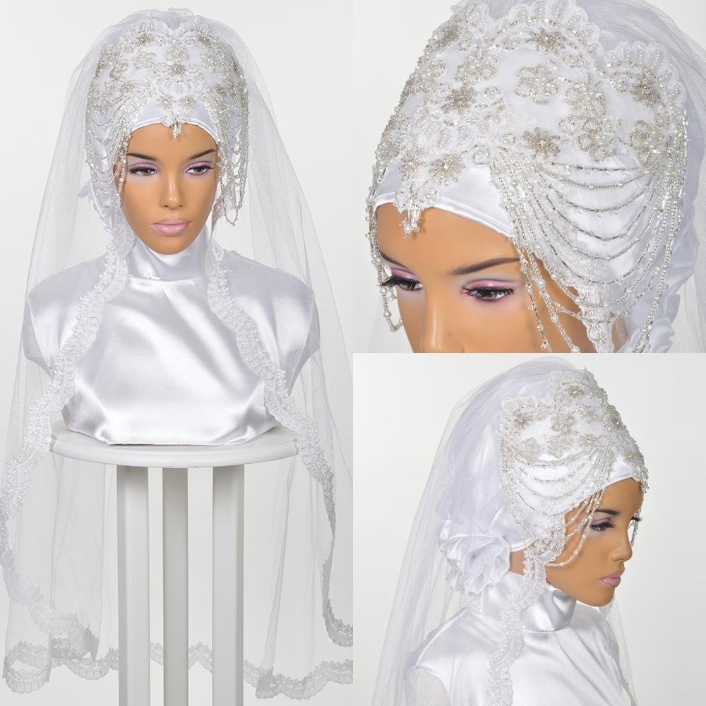 Luxury Muslim Wedding Bridal Hijab 2019 Lace Voile Khimar Islamic Nikkah Voile Mariage Veils One-Layer Fingertip Length