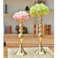 Candlestick Road Lead Candelabra Centre Pieces Wedding Deco 10PCS/LOT Gold Metal Candle Holders Stand Flowers Vase