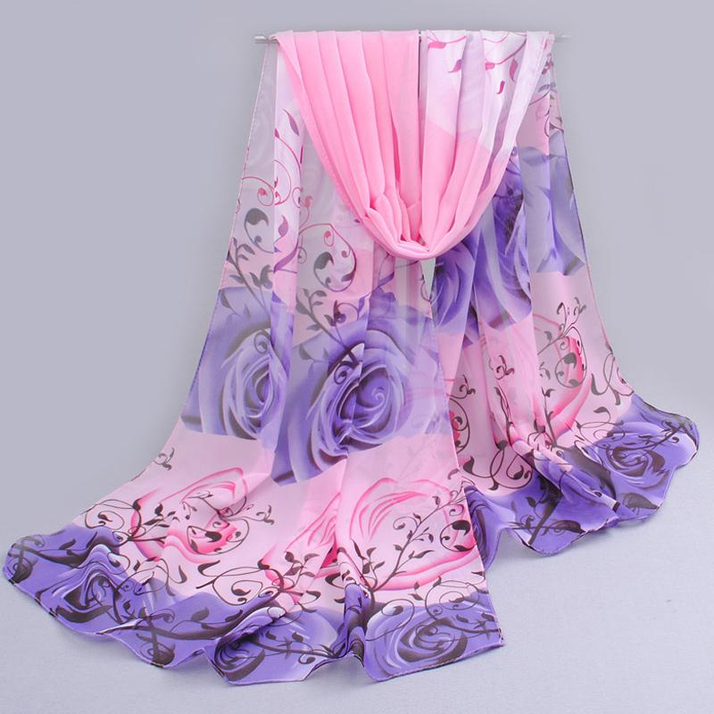 from india promotion 2019 rose print chiffon polyester   scarves   woman thin shawl turban belt hijab fashion arabic scarfs   wrap   qsr