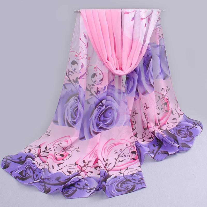 uit india promotie 2019 rose print chiffon polyester sjaals vrouw dunne sjaal tulband riem hijab mode arabische sjaals wrap qsr