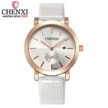 Chenxi relógio marca as mulheres desconto relógios das mulheres relógio de quartzo de couro quente data de exibição do relógio de presente de ouro & prata relógios de pulso
