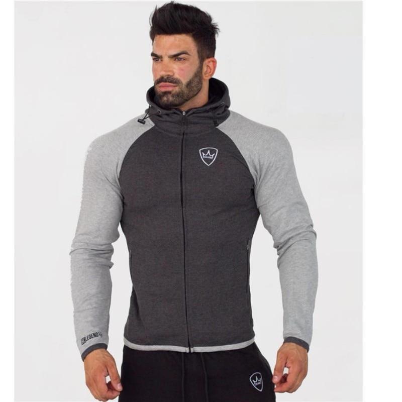 2018 Men Gyms Hoodies Brand Clothing Men Hoody Zipper Casual Sweatshirt Muscle Men's Slim Fit Fitness Hooded Jackets