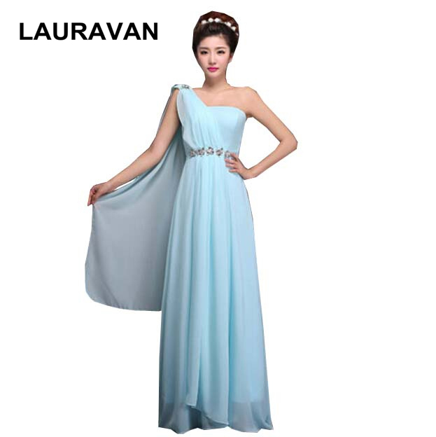 impressions yellow champagne bridesmaid dress long chiffon one shoulder bridesmaids dresses floor length gown in light blue