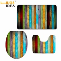HUGSIDEA Colorful Wood Bath Mat Set Water Absorption Bathroom Carpet Bathroom Mat Home Living Room Kitchen Floor Mat for Toilet