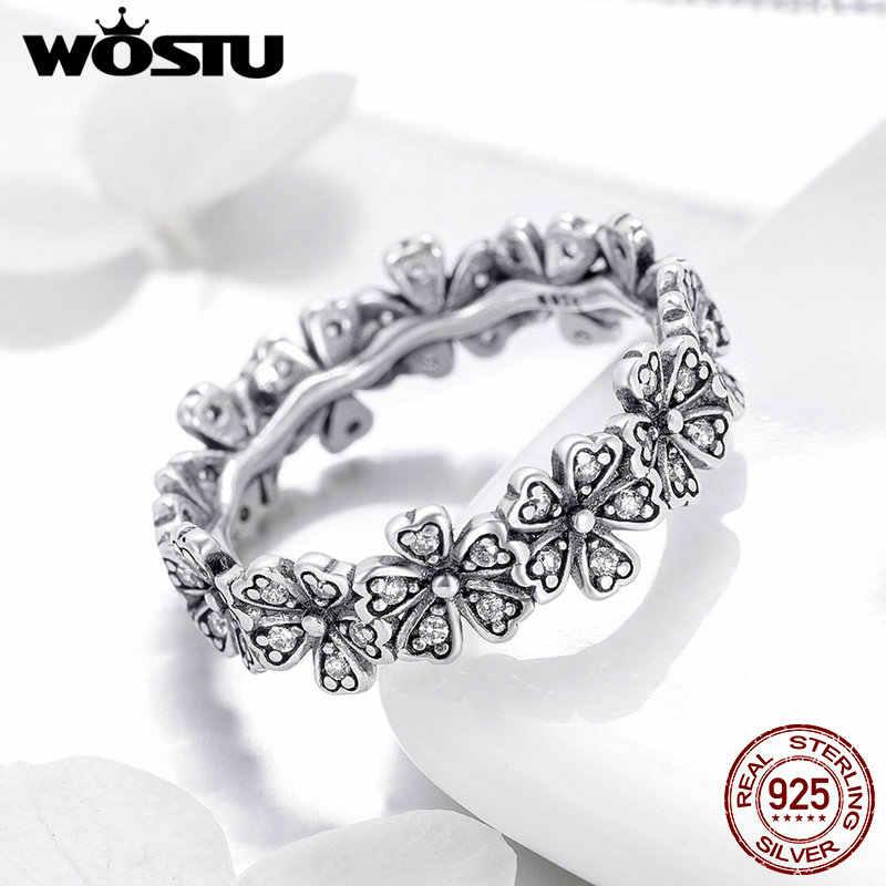 WOSTU 100% Настоящее 925 пробы Серебряное ослепительное штабелируемое цветочное свадебное кольцо с ромашками для женщин дропшиппинг модное ювелирное изделие CQR397