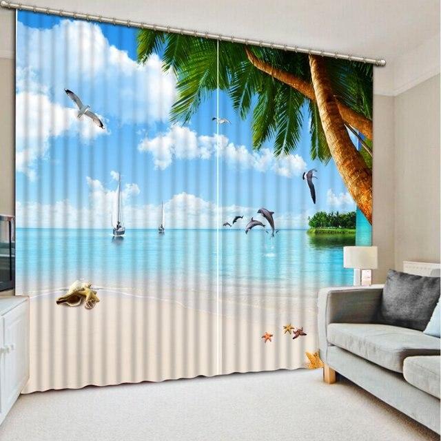 Mare sole paesaggio 3d finestra tende per il salone - Tende per casa al mare ...