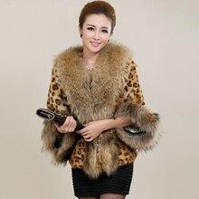 2017 Fashion Sexy Winter Women Faux Fur Leopard Coat With Raccoon Dog Collar Faux Fur Poncho gilet chalecos de pelo mujer S-3XL