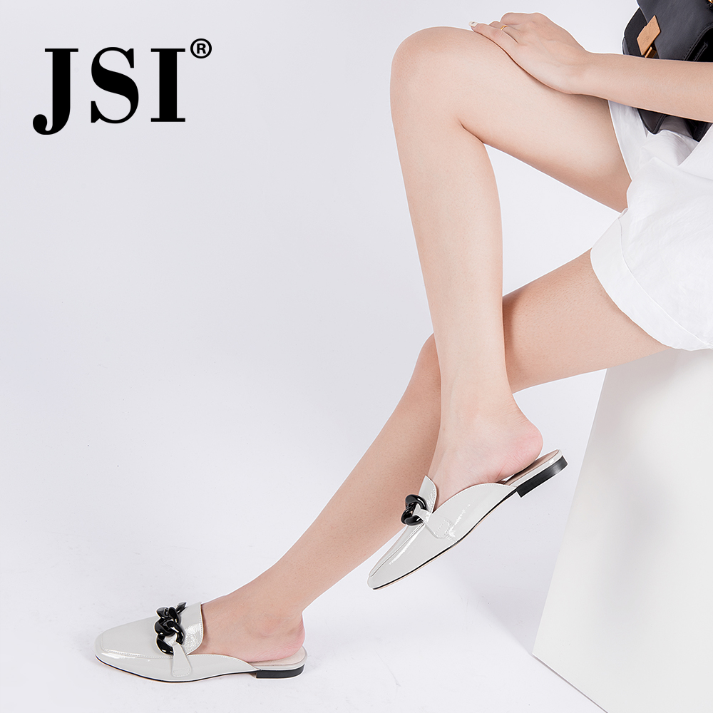 JSI 2019 Summer New Casual White Patent Leather Woman Mules Shoes Square Toe Concise Convenient Slip