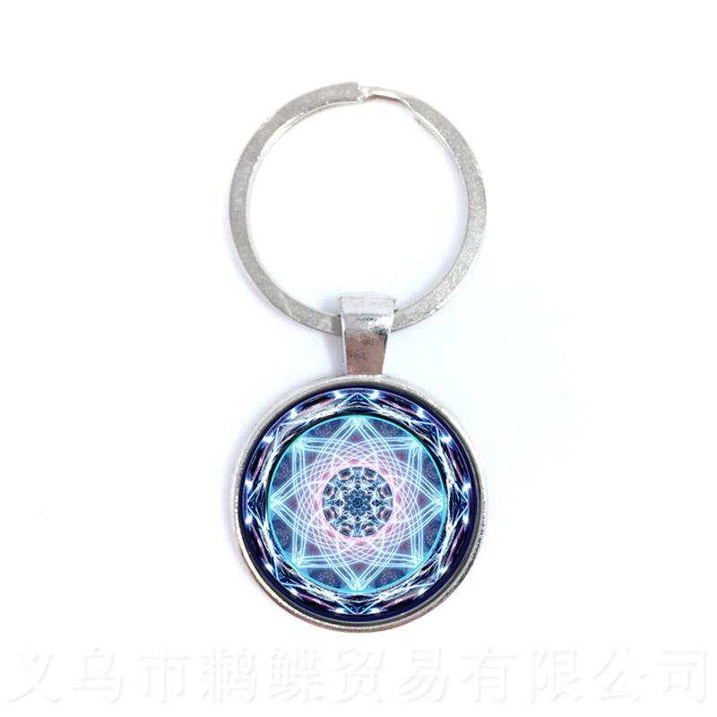2018 Life Key Chain Fashion OM Yoga Chakra Mandala Glass Jewels Sacred Geometric Purple Flower Gift For Friends Best Gift