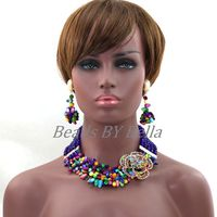 Colorful Crystal Mix Shell Beads Necklace Bracelet Earrings Set Nigerian Wedding Costume Bridal Jewerly Free Shipping ABL355