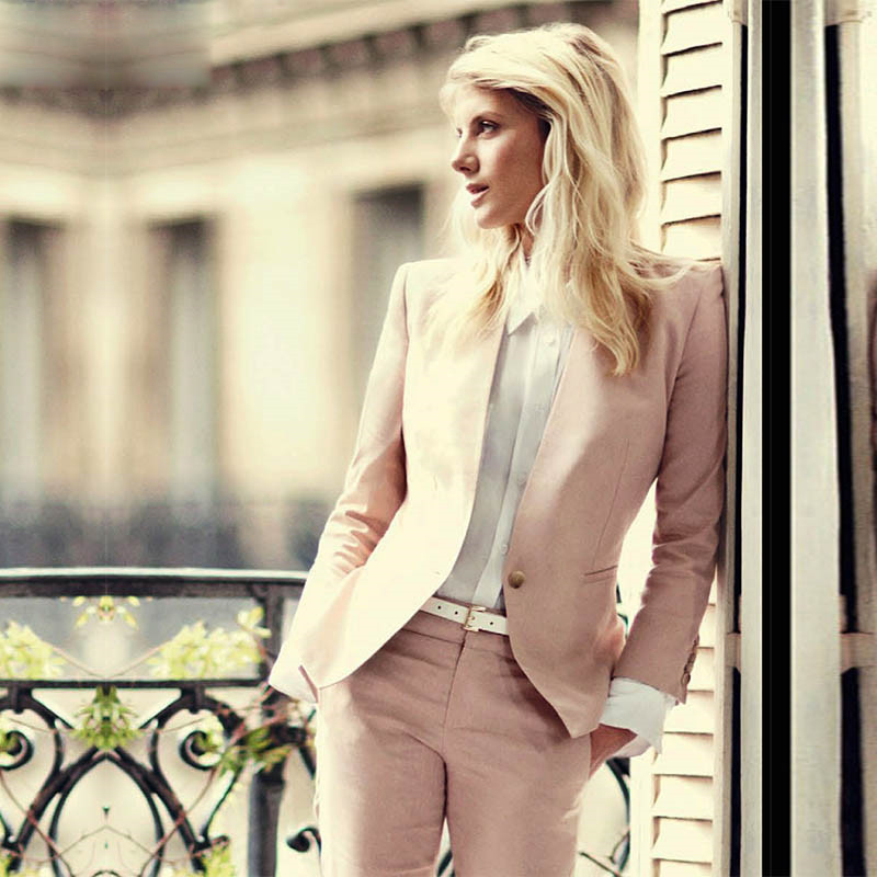 CUSTOM Light Pink 2019 Fashion Womens Business Suits 2 Piece Blazer Set Slim Fit Female Office Uniform Ladies Pant Suits