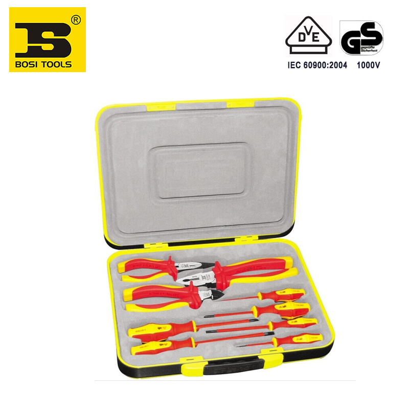BOSI 9 in 1 VDE electrician screwdrivers cutters pliers tools set with portable case наборы для вышивания nitex набор для вышивания
