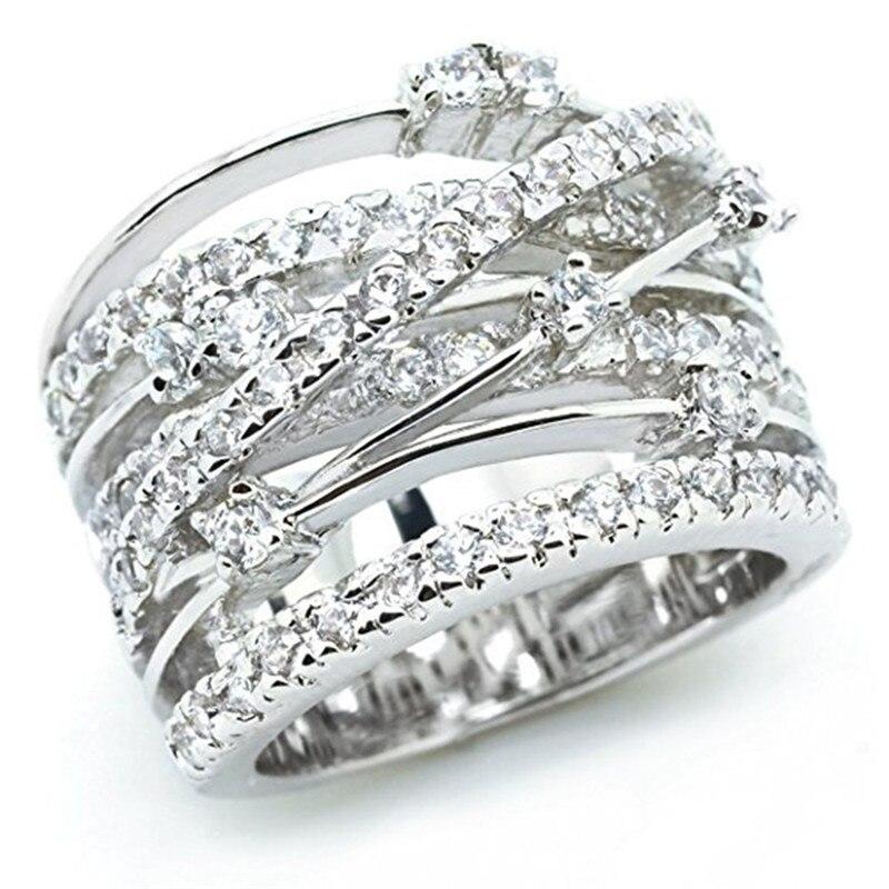BOAKO Top New Antique Mosaic AAA Zircon Crystal Multilayer Silver Color Cross Double X Ring Women Finger Luxury Bijoux X7-M2