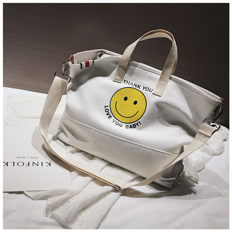 bb9ec9044c1 SINTIR Big Casual Canvas Tote Bags Designer Smile Handbags Women Famous  Brands Shoulder Bag Ladies Luxury Handbags Women Bags