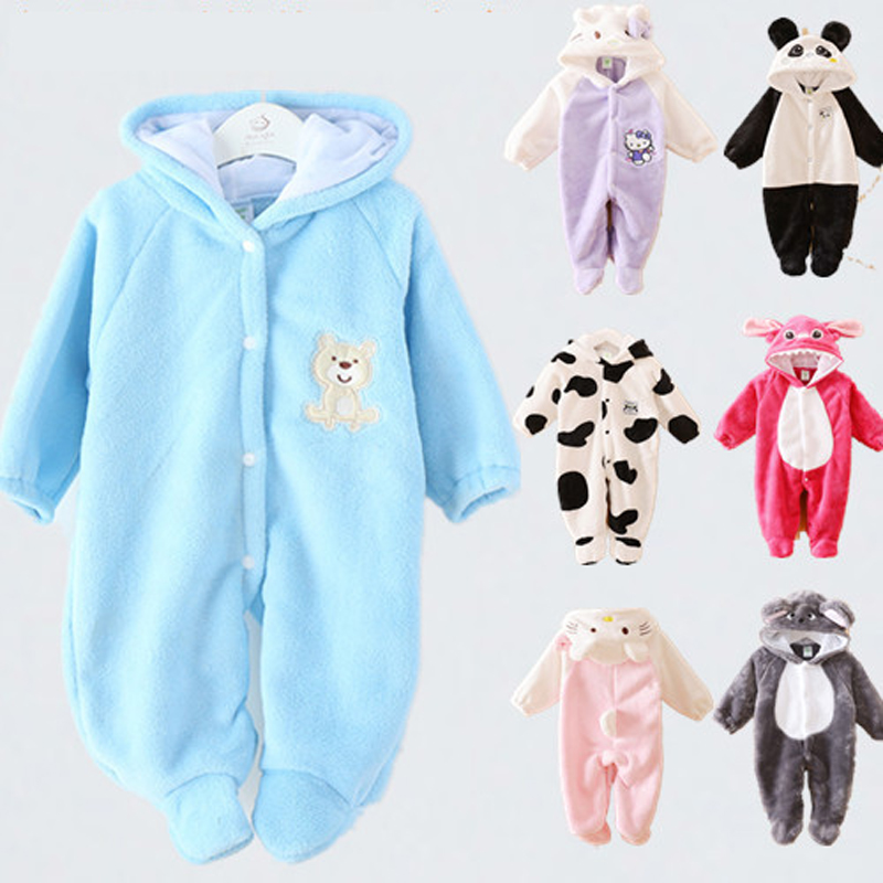 Baby Clothing Jumpsuit + Hat + Shoes Animal Style Warm Hooded Baby Rompers Winter Boys Girls Clothes Outfits Newborn Clothing