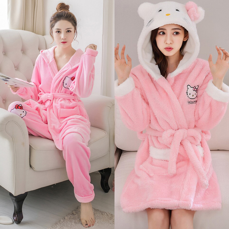 37447d76f Mujer franela Hello Kitty camisón de manga larga Albornoz pantalones  invierno lindo pijamas de ...