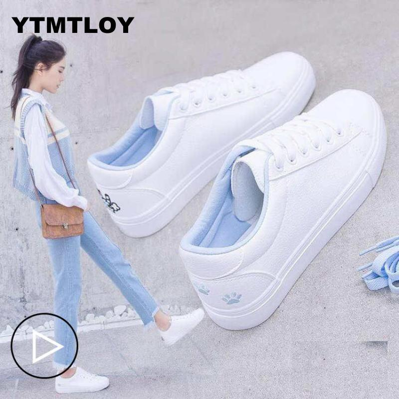 New Spring Tenis Feminino Lace-up White Shoes Woman Pu Leather Solid Color Female Casual Women Sneakers Cat  Zapatos De Mujer