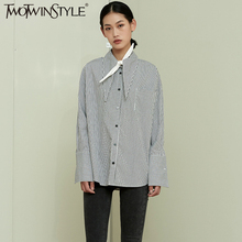 TWOTWINSTYLE New Style Women Black White grid Long sleeve Blouse Fashion and Personality Long collar Casual Female Tops Shirts