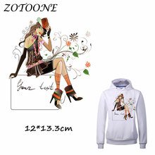 ZOTOONE Heat Transfer Clothes Stickers Fashion Lady Patches for T Shirt Jeans Iron-on Transfers DIY Applique Clothes Parches C 50pcs wholesale bird heat transfers iron on patches for coat jeans t shirt clothes decorative diy craft stickers applications