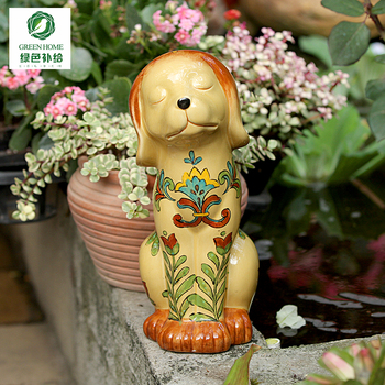 creative Hand Painted ceramic garden dog statue home decor crafts room decoration objects dog ornament porcelain animal figurine