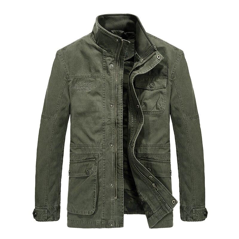 New Brand AFS JEEP Spring Autumn Medium Long Jacket Pockets Decoration Military Jacket Trench Coat jaqueta