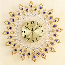 Charminer New Peacock Diamond Iron Art Wall Clock Living Room Watch Home Decor