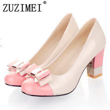 14f3e3ce5d61 Plus size 34-43 Hot 2018 Candy Color Women Pumps Shallow Color Block Thick  High Heels Shoes Bowtie Pink Working Shoes Woman