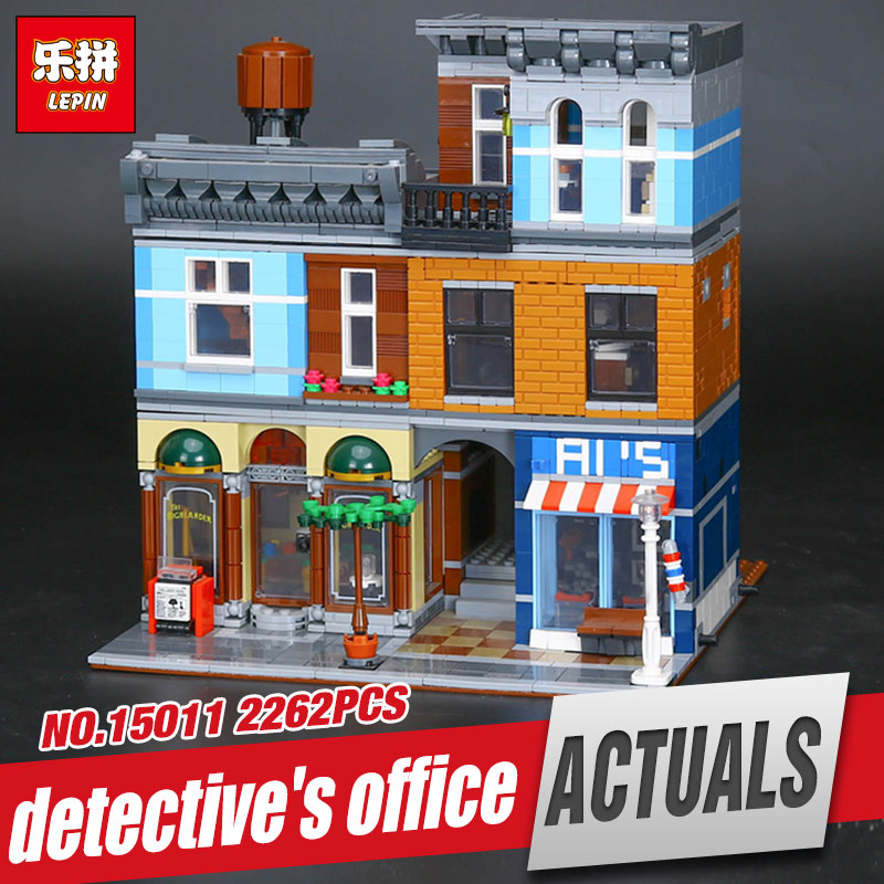 LEPIN 15011 2262Pcs City Street Detective's Office Model Building Kit Blocks Bricks Compatible Funny Toy 10246 for children gift lepin 02012 city deepwater exploration vessel 60095 building blocks policeman toys children compatible with lego gift kid sets