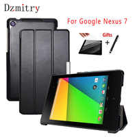 Étui Folio pliable en cuir PU Ultra mince pour Google Nexus7 2013 support de couverture de tablette Flip pour Nexus 7 2nd, sommeil/réveil automatique + film + stylo