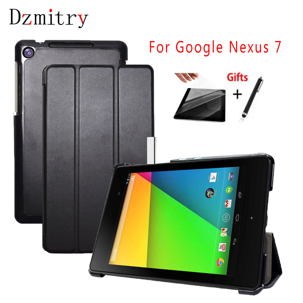 Ultra Slim PU Leather Folding Folio Case For Google Nexus7 2013 Flip Tablet Cover Stand For Nexus 7 2nd,Auto Sleep/Wake+film+pen