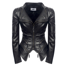 Plus Size S-3XL Faux Leather Women Spring Autumn Winter Black Fashion Motorcycle Jacket Outerwear Pu