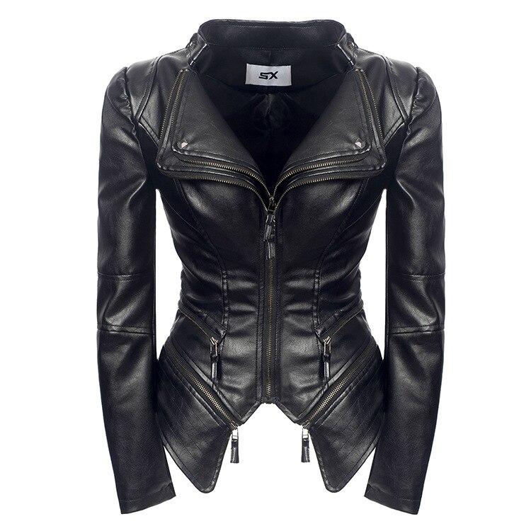 Plus Size S-3XL Faux Leather Women Spring Autumn Winter Black Fashion Motorcycle Jacket Outerwear Leather Pu Jacket