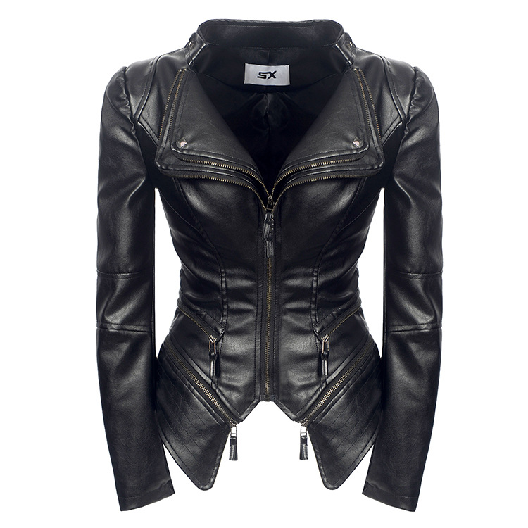 Plus Size S-3XL Faux   Leather   Women Spring Autumn Winter Black Fashion Motorcycle Jacket Outerwear   Leather   Pu Jacket