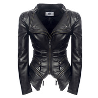 Plus Size S 3XL Faux Leather Women Spring Autumn Winter Black Fashion Motorcycle Jacket Outerwear Leather Pu Jacket