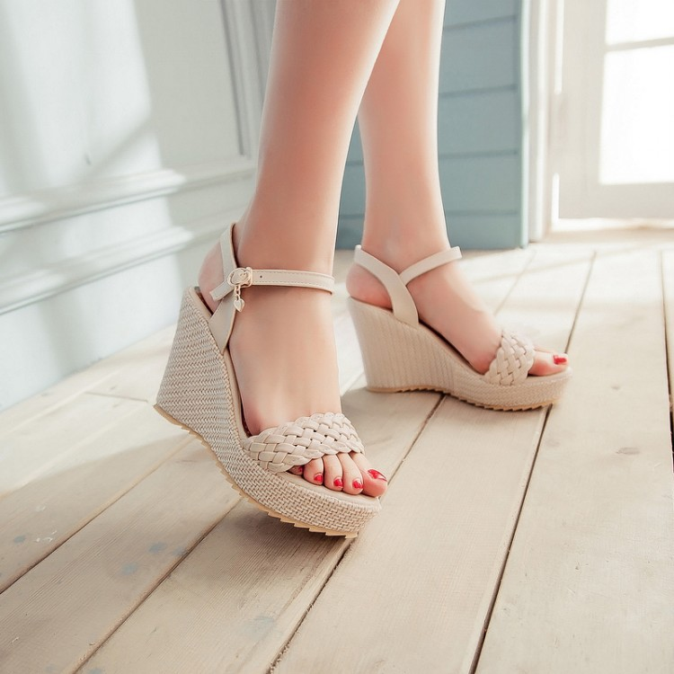 Summer Women Wedges Chunky Heel  Woven Ankle Wrap Open The Toe Fashion Casual Sandals Shoes Plus Size 33-43 SXQ0610 gladiator women new arrival summer wedges chunky heel ankle wrap fashion casual sandals shoes plus size 34 43 sxq0610