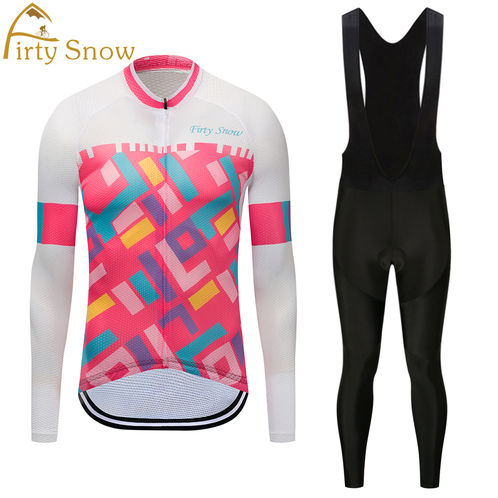 Firty sonw Cycling Jersey Mens long Sleeve Bicycle Cycling Clothing Bike Wear Shirts Outdoor Maillot Ropa Ciclismo Bib Pants
