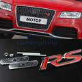 1 x Universal 3D Metal Alloy RS Logo Car Front Hood Grille Emblem Stickers For Ford Audi Chevrolet Mitsubishi Red