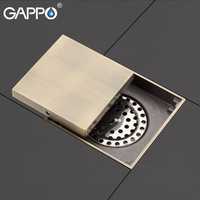 GAPPO Drains Antique Brass bathroom waste drains square floor cover anti odor bathroom shower drain strainer shower room