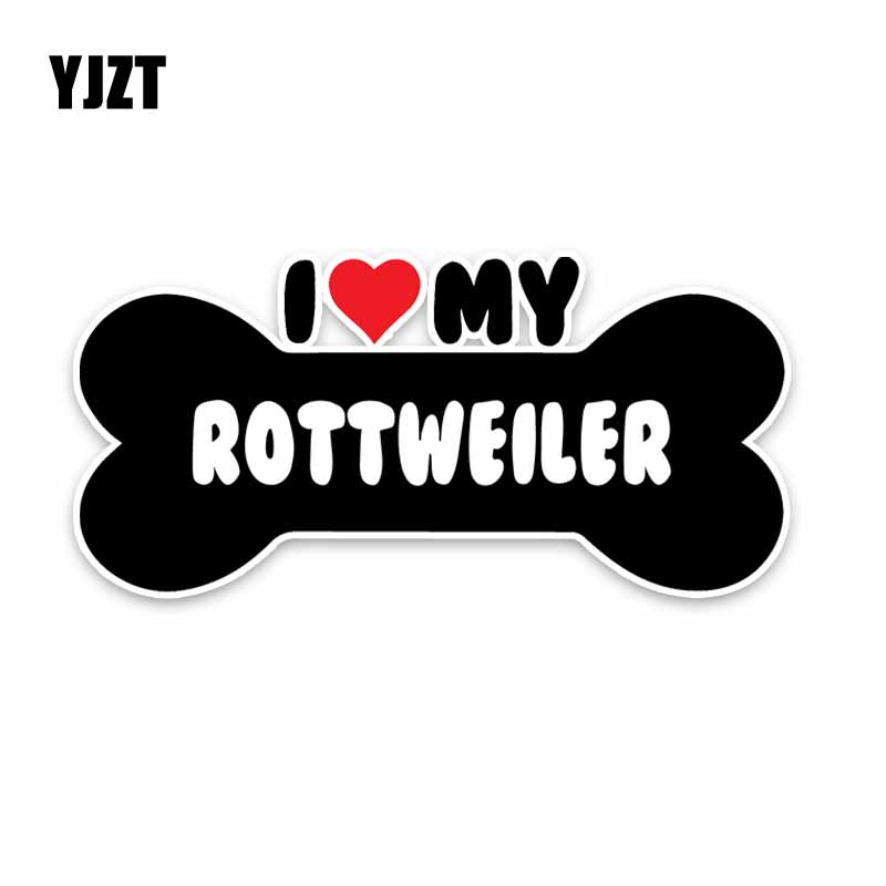YJZT 15*7.1CM I Heart My Rottweiler Dog Bone PVC Car Bumper Car Sticker Decals C1-4157