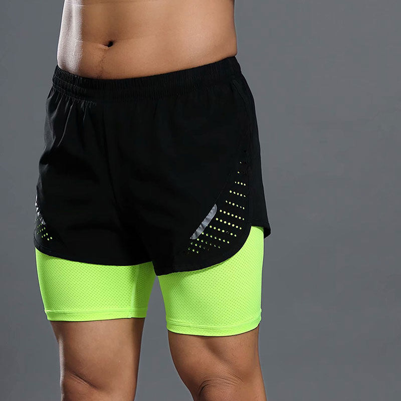 2in1 Summer Mens Gym Shorts Plus Sport Fitness Running Shorts Pockets Quick Dry Workout Training Sports Wear Double Layer