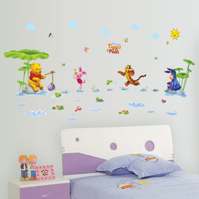 Cartoon Winnie The Pooh Home Decor For Kids Room Decoration Wall