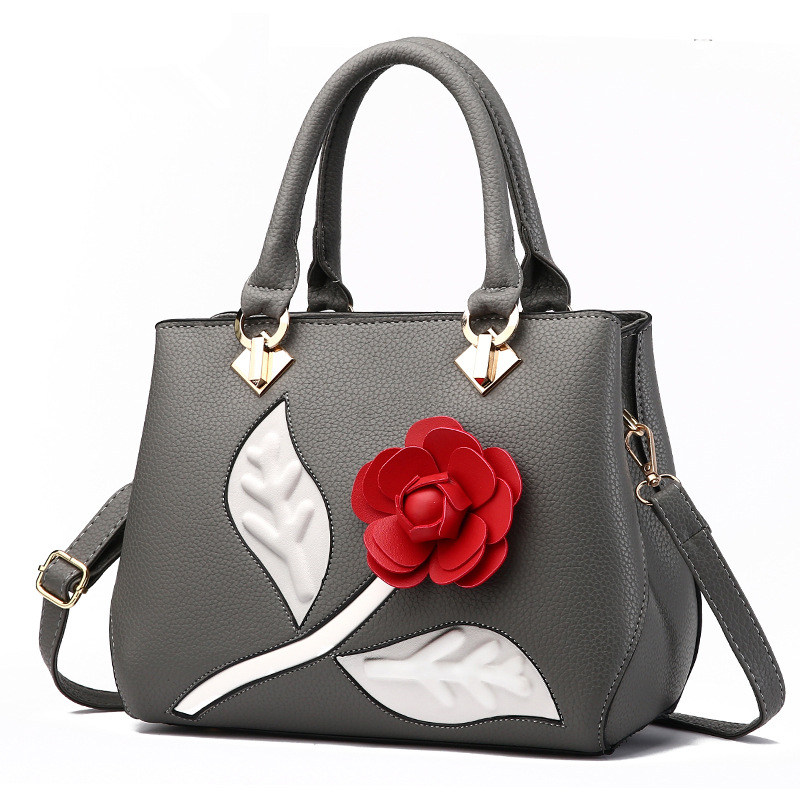 Fashion Grey PU Office Lady Handbag Womens Bag Lovely Rose Flower Crossbody Messanger ZipperFashion Grey PU Office Lady Handbag Womens Bag Lovely Rose Flower Crossbody Messanger Zipper