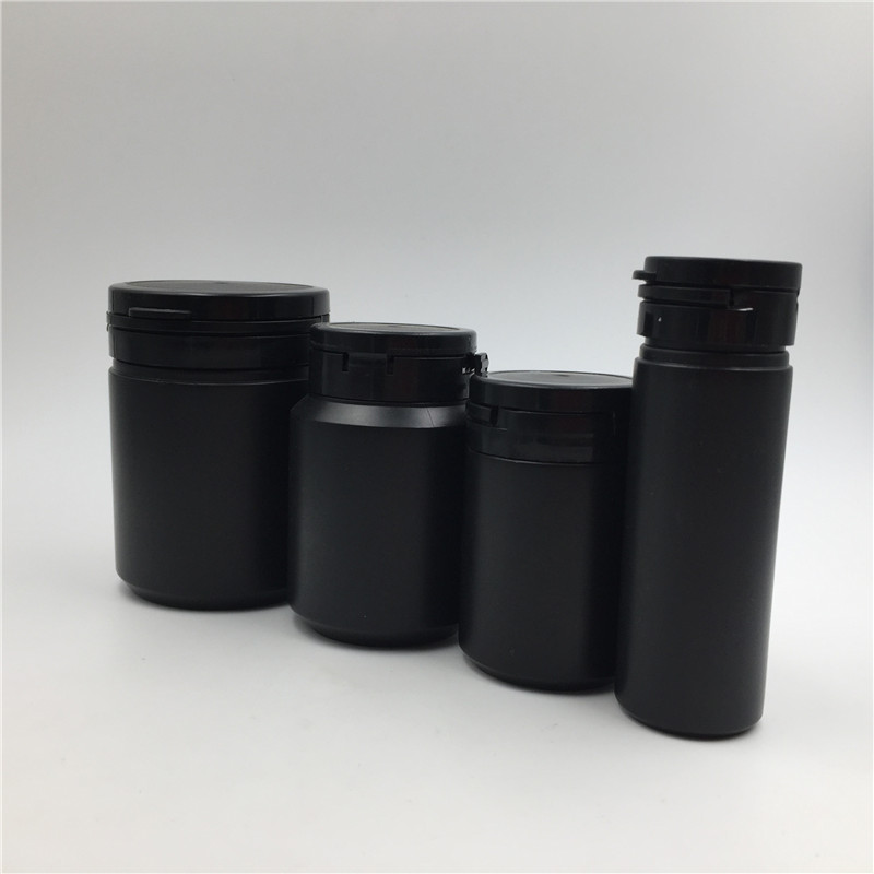12pcs 60ml 100ml 150ml HDPE Black Capsules Medicine Bottles with Tear-off Cap